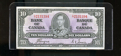 1937 Bank of Canada $10 F ++ Coyne Towers  DW5