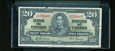 1937 Bank of Canada $20 F Gordon Towers  DW16