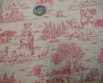 Cotton Fabric Quilt Sew Material Red Toile Victorian Era Print Estate