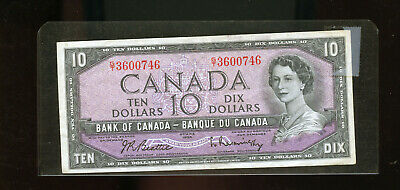 1954 Bank of Canada $10 Beattie Rasminsky VF DW33