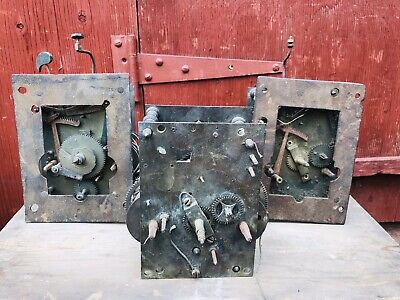 3 Large Brass Antique Framed Clock Movements Dallaway & Son  Vintage Grandfather