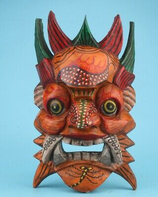 Sacred Chinese Wood Statue Mask Hand-Painted Exorcism Home Decoration Craft Gift