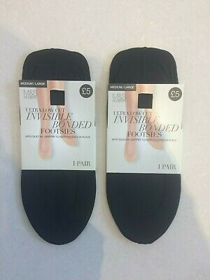 2 X Pairs of Marks & Spencer Ultra Low Cut Invisible Footsies  Size 6 - 8
