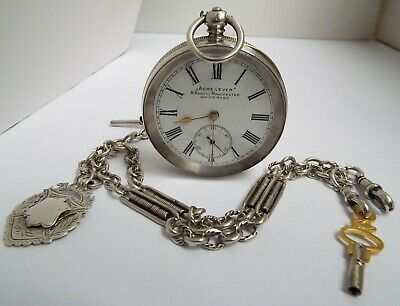 FINE LARGE WORKING ENGLISH ANTIQUE c1910 SOLID SILVER POCKET WATCH & FANCY CHAIN