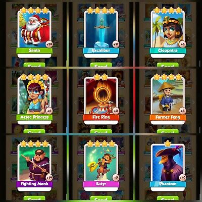Coin Master Rare Cards Bundle *delivery In Minutes* fire ring santa satyr