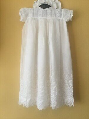 Vintage Ivory Baby Christening Baptism Gown 2 Piece Dress Silk And Lace