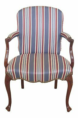 47693EC: HICKORY CHAIR CO. Queen Anne Mahogany Upholstered Arm Chair