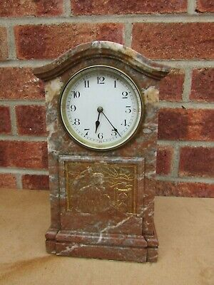French Art Deco Marble 8 Day Mantle Clock
