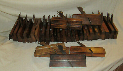 mixed lot of 29 antique wooden moulding planes woodworking planes old tools