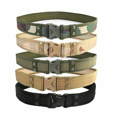 Tactical Sport Belt With Plastic Buckle Army Adjustable Fan Hook Loop Waistband