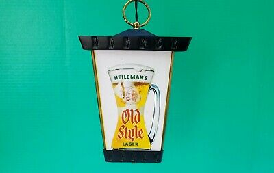 Heileman's Old Style Lager 3 Sided Hanging Pendant Swag lamp Beer Bar Light Sign