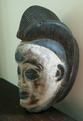 Old Tribal Carved African Punu Maiden Spirit Mask from Gabon - very characterful