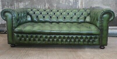 Quality Antique Green Chesterfield Fully Buttoned 2/3 Seater Sofa