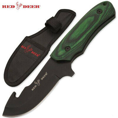 "Red Deer®8.25"" Green Wood Handle Full Tang Hunting Knife Black Blade and Sheath"