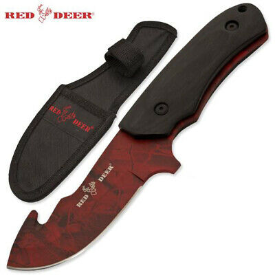"Red Deer®8.25"" Wooden Handle Full Tang Hunting Knife Red Blade and Sheath"