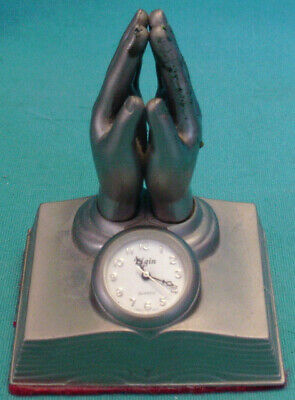 Vintage MINIATURE ELGIN QUARTZ CLOCK Pewter Bible & Praying Hands INSPIRATIONAL