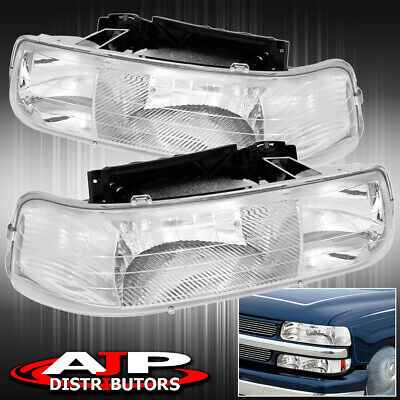 For 99-02 Chevy Silverado Chrome Housing Clear Lens Front Headlight Light Lamp