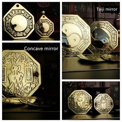 4-6''Chinese Feng Shui Dent Convex Mirror Bagua Lucky Blessing House Protecter