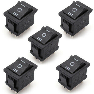 5PCS 6A/250V 10A/125V AC 6 Pin DPDT 3Position Latching Rocker ON-OFF-ON Switch
