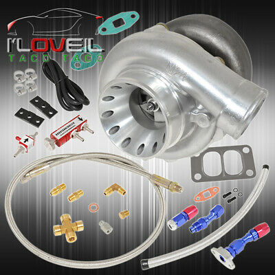 T70 V-Band .70 A/R Turbocharger + Boost Controller + Feed Drain Oil Line Red