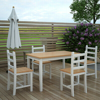 Solid Pine Solid Wood Dining Table with 4 Chairs Set  White or Pine Desk Kitchen