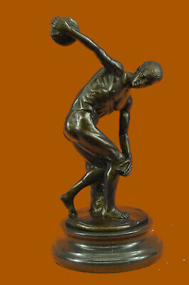 "Handmade Myron Bronze Sculpture Man Throwing Disk Statue ""THE DISCUS THROWER"""