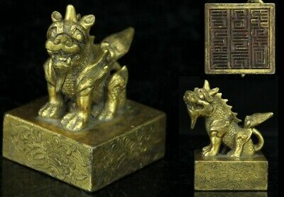 May219 Very Rare Chinese Antique Temple Buddhist Bronze Seal Foo Dog