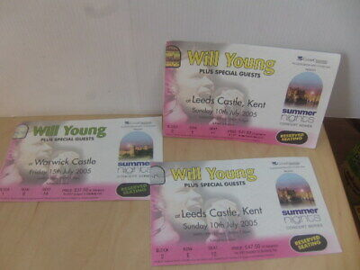 Will Young at Leeds Castle + Warwick July 2005 – three Tickets