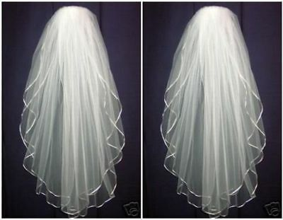 White/Ivory Tulle Wedding Veil Elbow Bridal Veils Satin Edge With Comb 2 Tiers