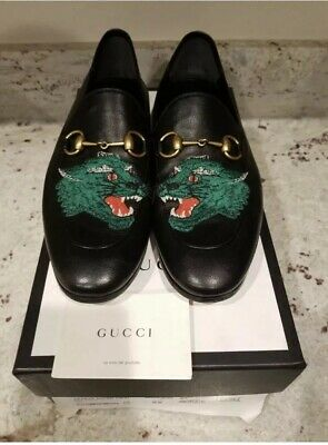 969b21c9d GUCCI Brixton Embroidered Tiger Black Leather Loafers Gucci SIZE 10 US $830  RTL