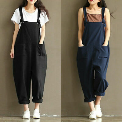 Women's Casual Loose Linen Cotton Jumpsuit Dungarees Playsuit Trousers.Overalls