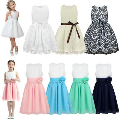 Kids Baby Girls Princess Dress Flower Party Wedding Bridesmaid Knee-Length Dress