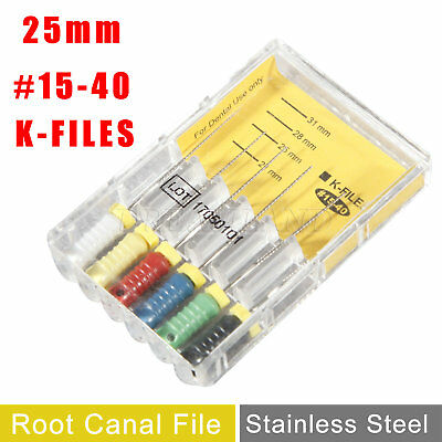 Dental K-FILES 25mm #15-40 Stainless Steel Endo Root Canal File Hand Use UK