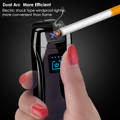 Electric Metal Cigarette Lighter Windproof Flameless Double Arc Plasma Touch USB