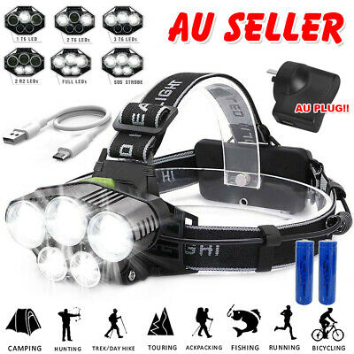 5X 90000LM LED Headlamp Headlight Flashlight Head Torch Rechargeable CREE XML AU