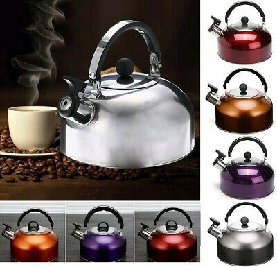 3L Whistling Kettle Stainless Steel Kitchen Stove Gas Induction  Fast Boil UK