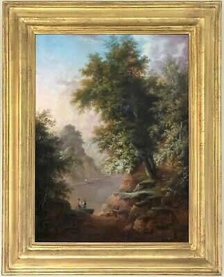 A River Landscape Antique Oil Painting Early 19th Century British School