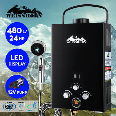 WEISSHORN Gas Hot Water Heater Portable Shower Camping LPG Caravan Pump Black