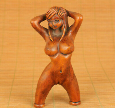 Cool old boxwood belle girl statue netsuke slingshot collectable tool