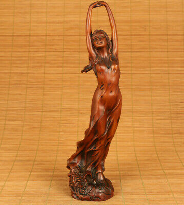 old boxwood hand carved belle girl dancing long skirt statue collect blessing