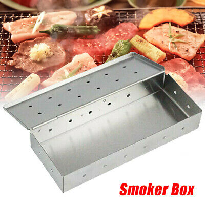 UK Stainless Steel Meat Smoking Smoker Box for BBQ Wood Chips Add Smokey Flavor