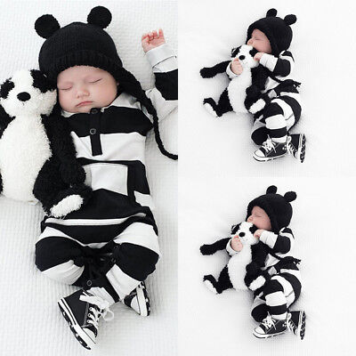 Newborn Infant Baby Boy Girl Kids Stripe Romper Jumpsuit Bodysuit Clothes Outfit