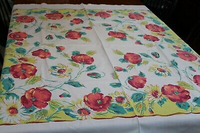 Vintage Cotton Kitchen Tablecloth 46x54 Poppies & More!