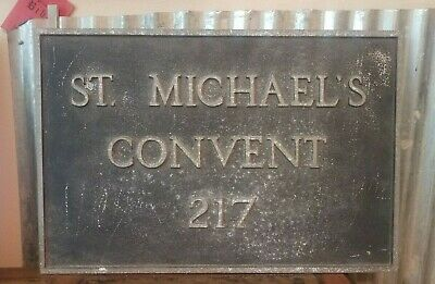 "St Michael's Convent Pressed Aluminum Address Sign Pennsylvania Vintage 15""x10"""