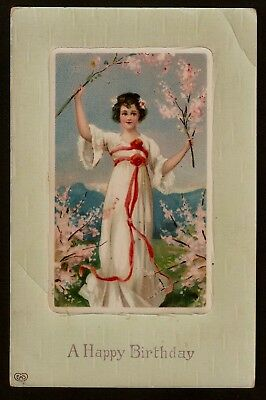 Collectible Vintage Postcard:Lady in Flowing White Dress Holds Cherry Blossoms