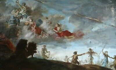18th CENTURY HUGE FRENCH OLD MASTER OIL PANEL - TRIUMPH OF CYBELE - TO RESTORE