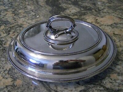 Grand Large Regal Neo-Classical Sheffield Silver Covered Entree Dish Set Tureen