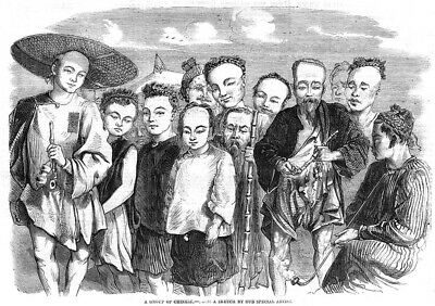 CHINA Group of Chinese People - Antique Print 1861