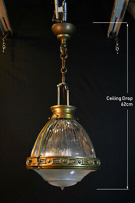 original 1920s Reclaimed vintage HOLOPHANE Industrial pendant light lantern
