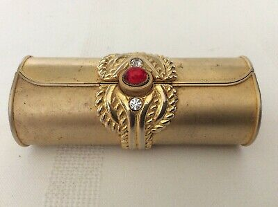 Vintage Gold Tone Jeweled Lipstick Case with Mirror